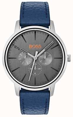 Hugo Boss Orange Grey Dial Day & Date Sub Dial Blue Leather Strap 1550066