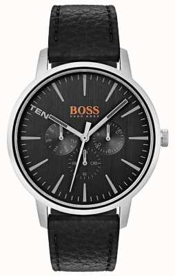Hugo Boss Orange Black Dial Day & Date Sub Dials Black Leather Strap 1550065
