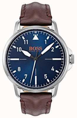 Hugo Boss Orange Blue Dial White Markers Dark Brown Genuine Leather Strap 1550060