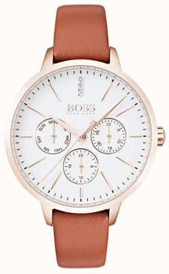Boss White Dial Day & Date Display Rose Gold Case Tan Leather 1502420