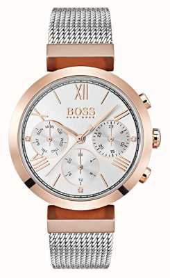 Hugo Boss Silver Dial Day & Date Display Roman Numerals Mesh Bracelet 1502427