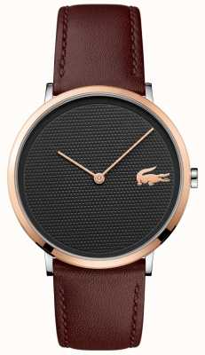 Lacoste Black Patterned Dial Rose Gold Case Brown Leather Strap 2010952