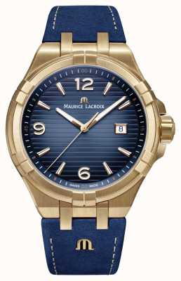 Maurice Lacroix Mens Aikon Limited Edition Bronze Case Blue Calf Strap AI1028-BRZ01-420-1