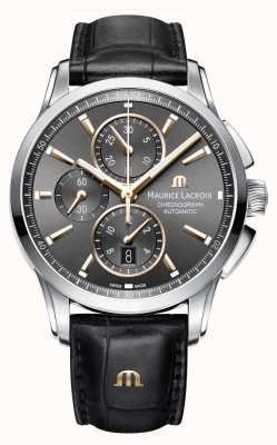 Maurice Lacroix Mens Pontos Brown Leather Strap Brown Dial PT6388-SS001-331-1