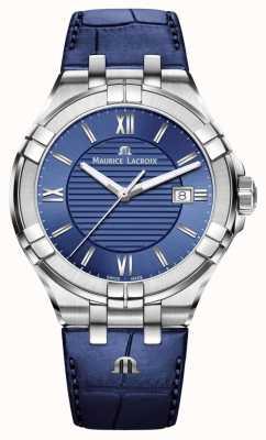 Maurice Lacroix Aikon Mens Blue Dial Blue Leather Strap AI1008-SS001-430-1