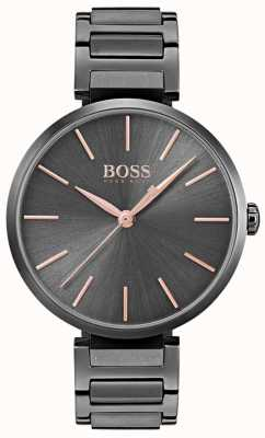 Hugo Boss Womens Allusion Watch Black Iron Plated Steel 1502416