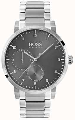 Hugo Boss Mens Oxygen Grey Watch Stainless Steel Bracelet Sunray Dial 1513596