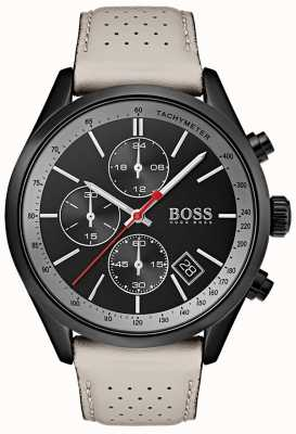 BOSS Mens Grand-Prix Watch Black Chronograph Grey Leather Strap 1513562