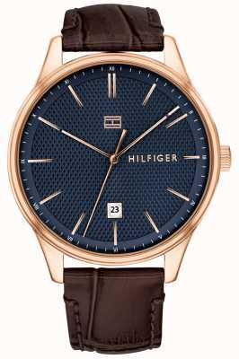 Tommy Hilfiger Men's Damon Watch Brown Leather Strap Blue Dial 1791493