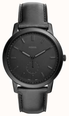 Fossil Mens The Minimalist Black Leather Strap Watch FS5447