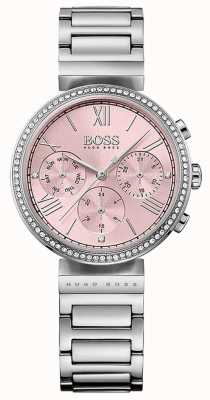 Hugo Boss Pink Dial Crystal Set Bezel Stainless Steel Bracelet 1502401
