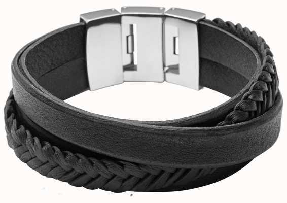Fossil Mens Vintage Casual Black Leather Wrap Bracelet JF02079040