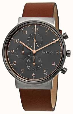 Skagen Mens Ancher chronograph black dial brown Leather Strap SKW6418