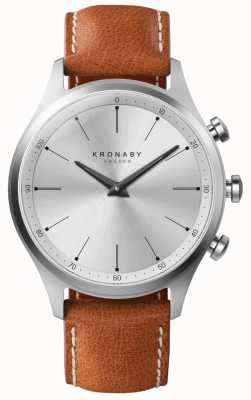 Kronaby 41mm SEKEL Silver Dial Brown Leather Strap A1000-3125