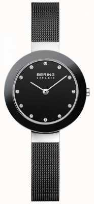 Bering Crystal Set Dial Ceramic Bezel Black Mesh Bracelet 11429-102