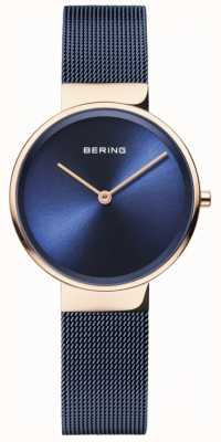 Bering Women's Classic Blue Dial Rose Gold Case Blue IP Plated Mesh 14531-367