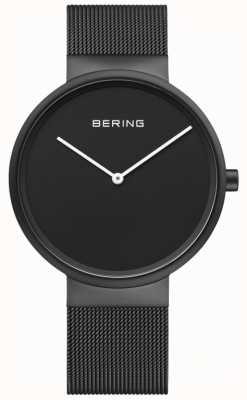 Bering Men's Classic Black Dial Black IP Coated Mesh Bracelet 14539-122