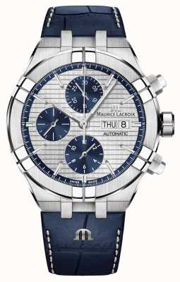 Maurice Lacroix Aikon Automatic Chronograph Blue Leather Strap Watch AI6038-SS001-131-1