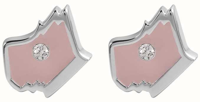 Radley Jewellery Love Radley Silver Radley Dog Head With Blush Stone Earrings RYJ1029