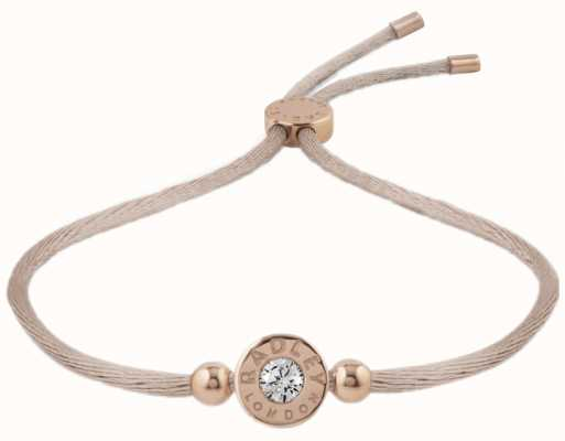 Radley Jewellery Fountain Road Rose Gold Plated Silv With Stone Cord Bracelet RYJ3000
