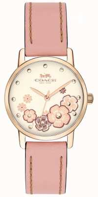 Coach Womens Grand Pink Leather Strap Cream Floral Dial 14503060