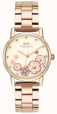 Coach Womens Grand Rose Gold Plated Watch 14503057