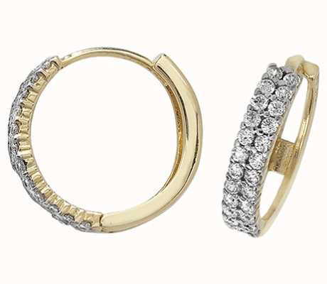 Treasure House 9k Yellow Gold Cubic Zirconia Hoop Earrings ES165