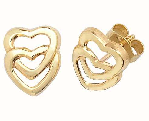 Treasure House 9k Yellow Gold Double Heart Stud Earrings ES309