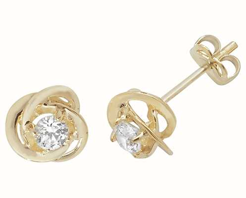 Treasure House 9k Yellow Gold Cubic Zirconia Stud Earrings ES458
