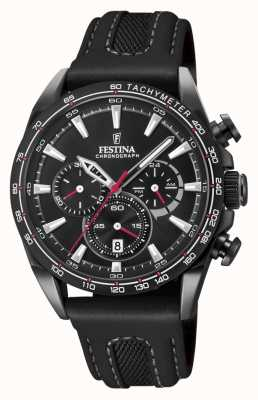Festina Mens Black PVD Plated Chrono Watch Leather Strap F20351/3