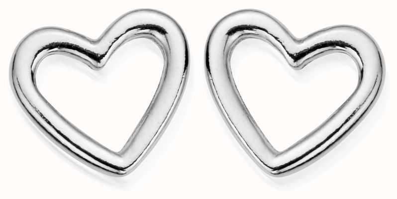 ChloBo Sterling Silver Stud Open Heart Earrings SEST532