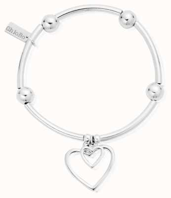 ChloBo Sterling Silver Noodle Ball Double Open Heart Bracelet SBNB007028