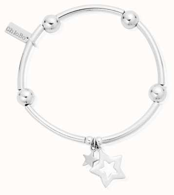 ChloBo Sterling Silver Noodle Ball Double Star Bracelet SBNB806812