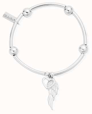 ChloBo Silver Noodle Ball Open Heart & Angel Wing Bracelet SBNB007703