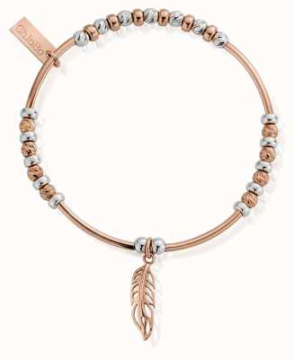 ChloBo Rose Gold and Silver Filigree Feather Bracelet MBSBNH571