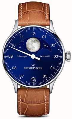 MeisterSinger Pangaea Lunascope Brown Strap Blue Dial LS908