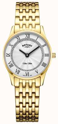 Rotary Womens Ultra Slim Gold Tone Bracelet White Dial LB08303/01