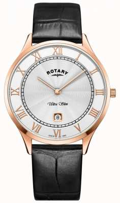 Rotary Mens Ultra Slim Black Leather Strap Watch GS08304/01