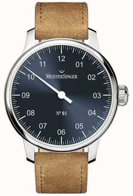 MeisterSinger No. 1 40mm And Wound Sellita Suede Cognac Strap DM308