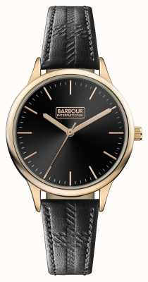 Barbour Mens Embleton Black Leather Strap Black Dial BB058RSBK