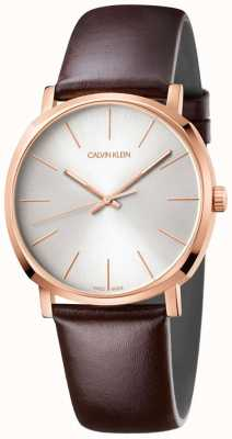 Calvin Klein Mens Brown Leather Strap Rose Gold Watch K8Q316G6