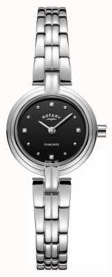 Rotary Women's Diamonds Black Dial Stainless Steel Bracelet LB00410/15