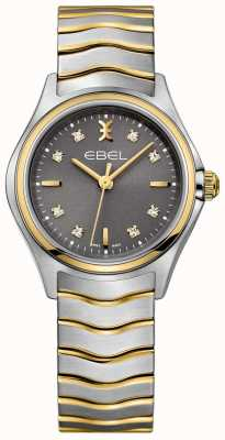 EBEL Women's Wave Diamond Set Two Tone Bracelet Grey Dial 1216283