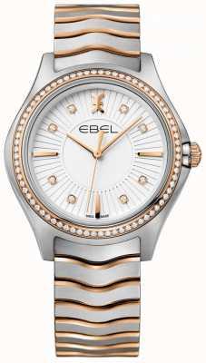 EBEL Women's Diamond Set Wave White Dial Two Tone Bracelet 1216319