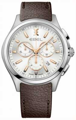 EBEL Men's Wave Chronograph Date Display Brown Leather Strap 1216341