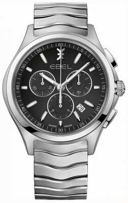 EBEL Men's Chronograph Black Dial Stainless Steel Silver Case 1216342
