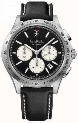 EBEL Men's Automatic Wave Chronograph Black Dial Black Leather 1216404