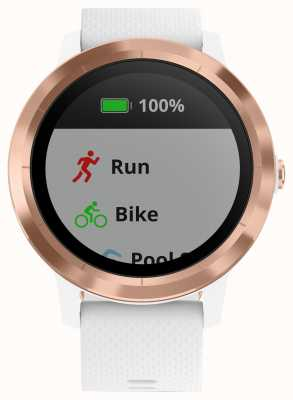 Garmin Vivoactive 3 HR Multisport Tracker White Rubber Rose Gold 010-01769-05