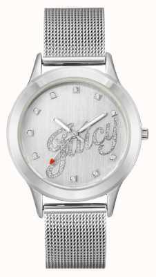 Juicy Couture Womens Silver Tone Mesh Bracelet Juicy Script Watch JC-1033SVSV