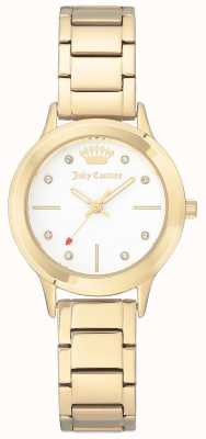 Juicy Couture Womens Gold Tone Stainless Steel Bracelet White Dial JC-1050WTGB